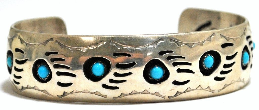 24: Old Pawn Navajo Turquoise Bear Paw Sterling Silver