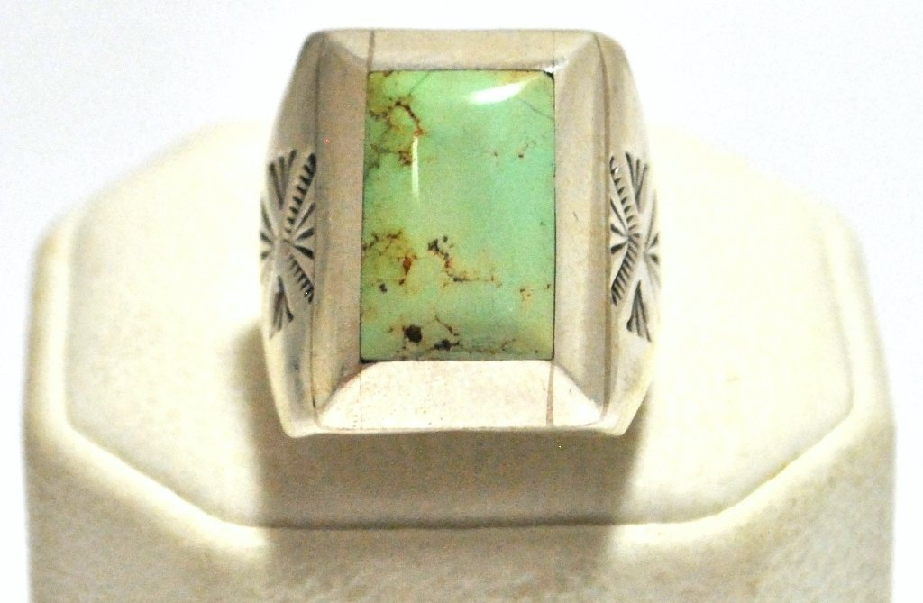 36: Old Pawn Navajo Pale Mountain Turquoise Sterling Si