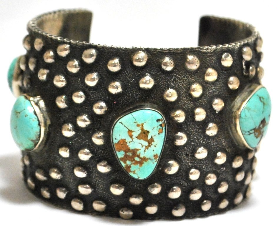 66: Old Pawn Navajo Lone Mountain Turquoise Sterling Si