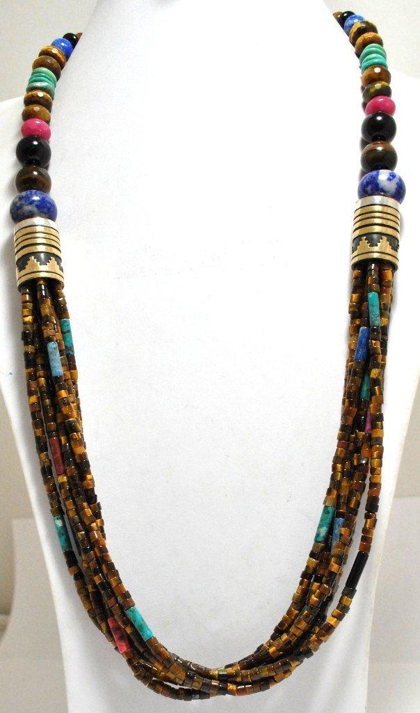 122: Navajo 7-Strand Tiger's Eye & Multi-Stone 12k Gold