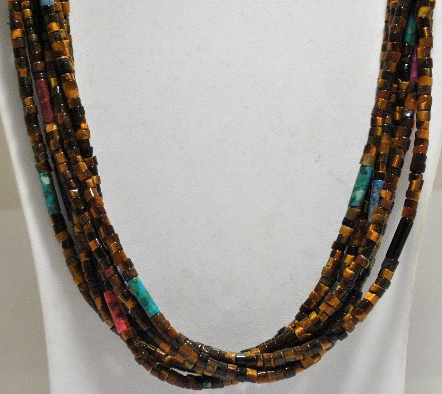 122: Navajo 7-Strand Tiger's Eye & Multi-Stone 12k Gold - 2