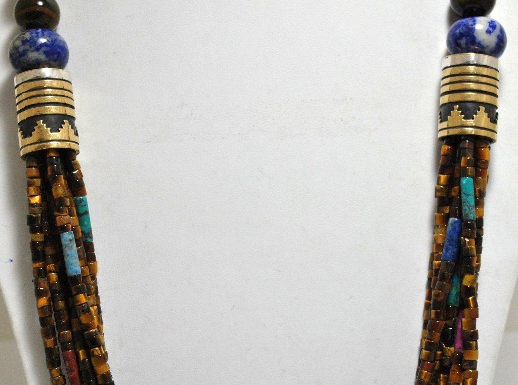 122: Navajo 7-Strand Tiger's Eye & Multi-Stone 12k Gold - 3