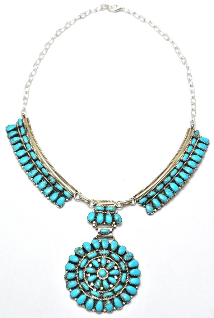 270: Navajo Turquoise Cluster Necklace - Juliana Willia