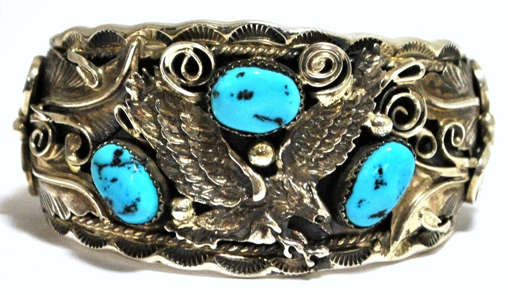 Old Pawn Turquoise Flying Eagle Sterling Silver Cuff Br