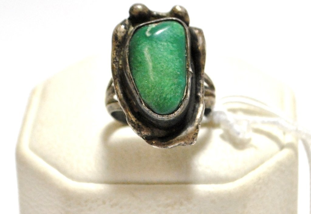 Old Pawn Green Turquoise Sterling Silver Women's Ring