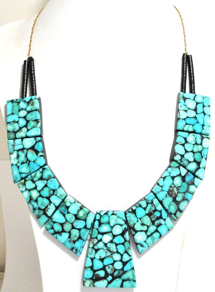 Santo Domingo Turquoise & Black Jet Heishi Necklace - D
