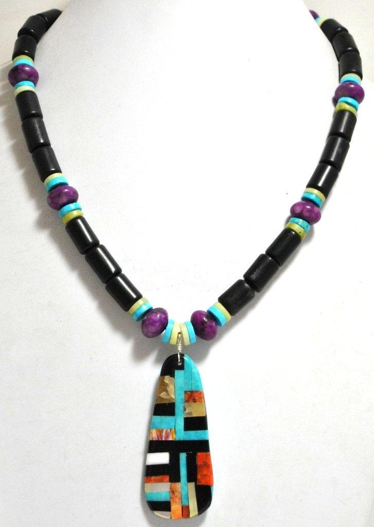 Santo Domingo Multi-Stone & Black Jet Beads Necklace -