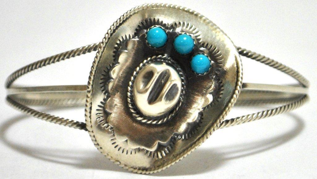Navajo Turquoise Sterling Silver Cowboy Hat Cuff Bracel