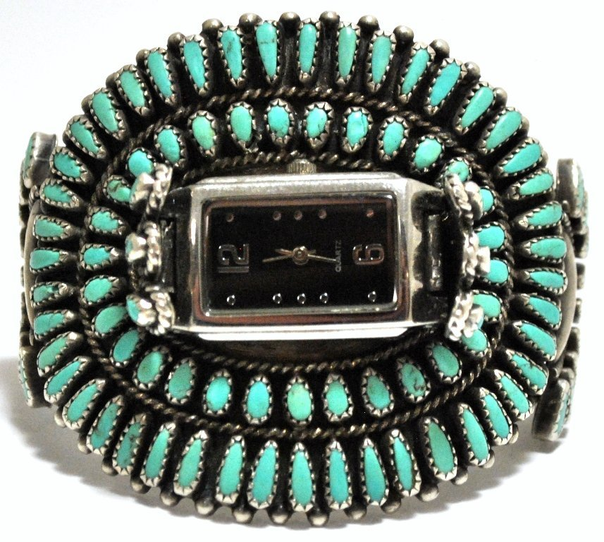 Old Pawn Turquoise Needlepoint Cluster Sterling Silver