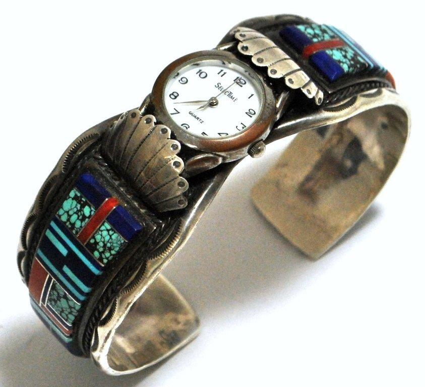 Dead Pawn Multi-Stone Inlay Sterling Silver Cuff Bracel
