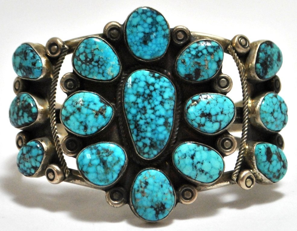 Old Pawn Navajo Turquoise Cluster Sterling Silver Cuff