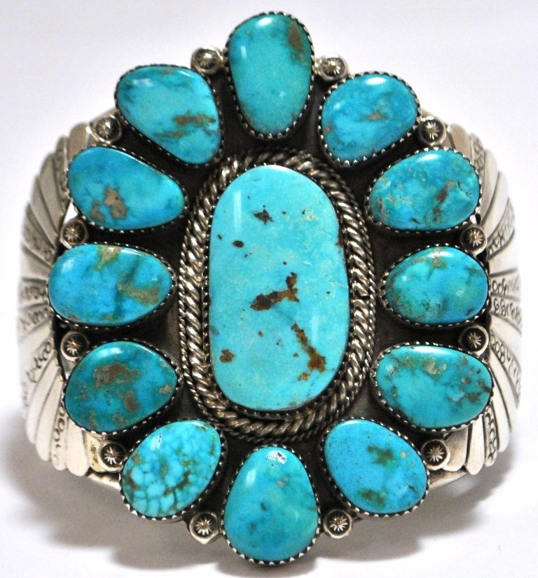 Old Pawn Rare Morenci Turquoise Sterling Silver Cuff Br