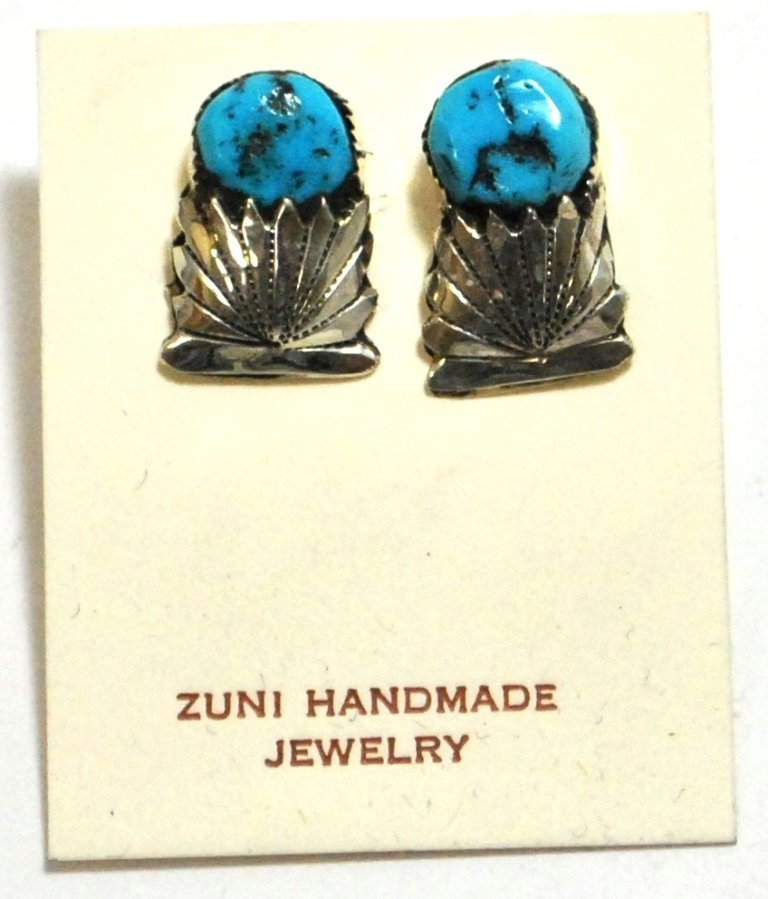Old Pawn Turquoise Sterling Silver Post Earrings - Robe
