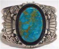 Old Pawn Navajo Morenci Turquoise Sterling Silver Cuff