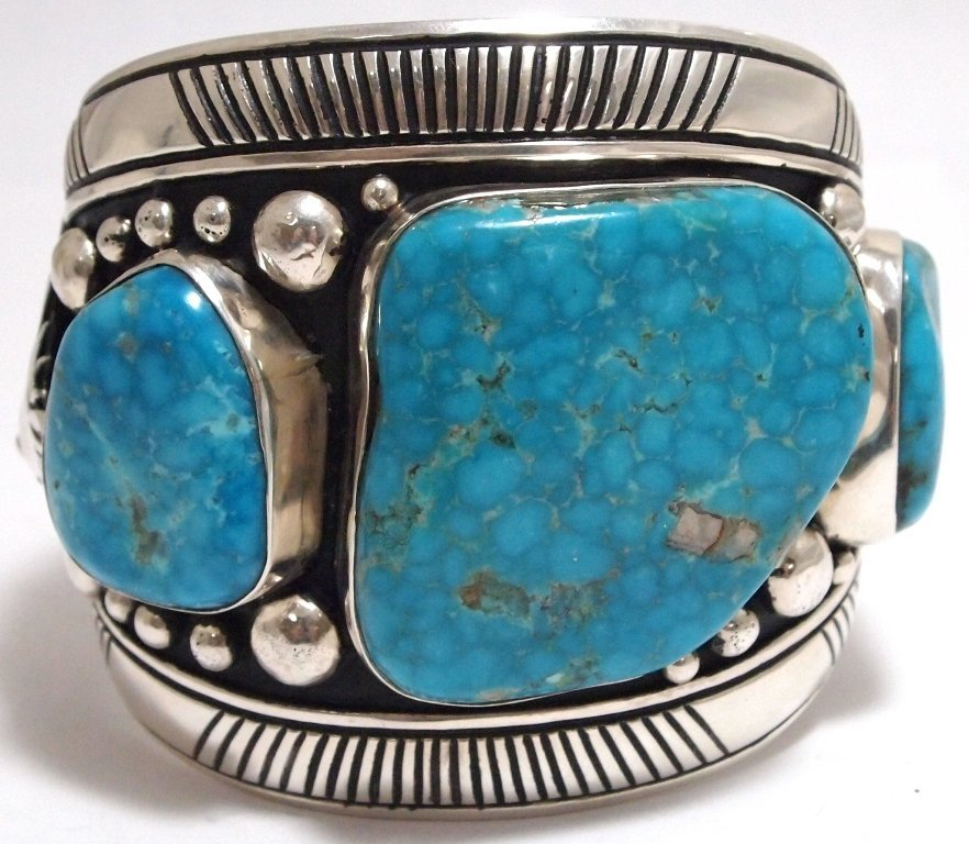 Old Pawn Navajo Morenci Turquoise Sterling Silver LARGE
