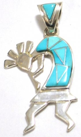 Navajo Turquoise Kokopelli Sterling Silver Pendant - Ca