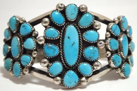Old Pawn Navajo Valley Blue Turquoise Sterling Silver C