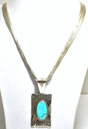 Old Pawn Lone Mountain Turquoise Sterling Liquid Silver