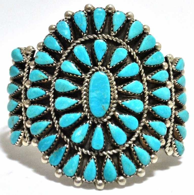 Old Pawn Turquoise Petit Point Cluster Sterling Silver