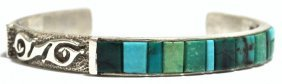 Old Pawn Multiple Turquoise Inlay Sterling Silver Cuff