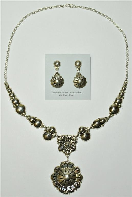 Navajo Sterling Silver Flower Necklace & Earrings Set -