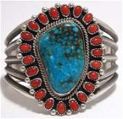 Old Pawn Navajo Coral & Kingman Turquoise Sterling Silv