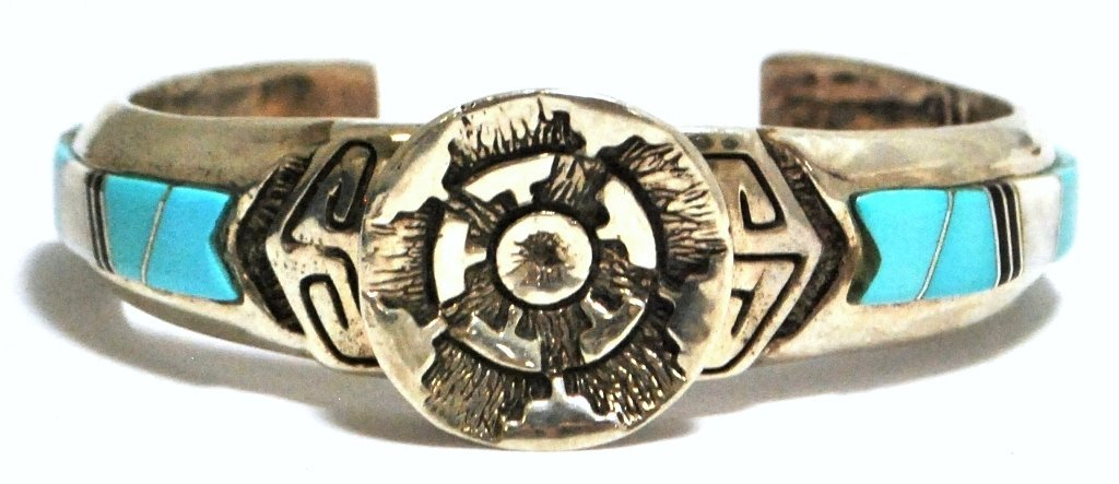 Dead Pawn Inlay Tufa Cast Sterling Silver Cuff Bracelet