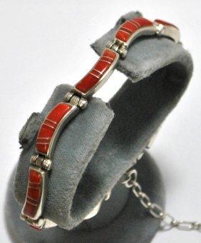 Old Pawn Coral Sterling Silver Link Bracelet