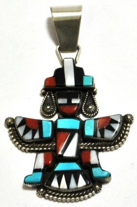 Old Pawn Multi-Stone Knifewing Kachina Sterling Silver