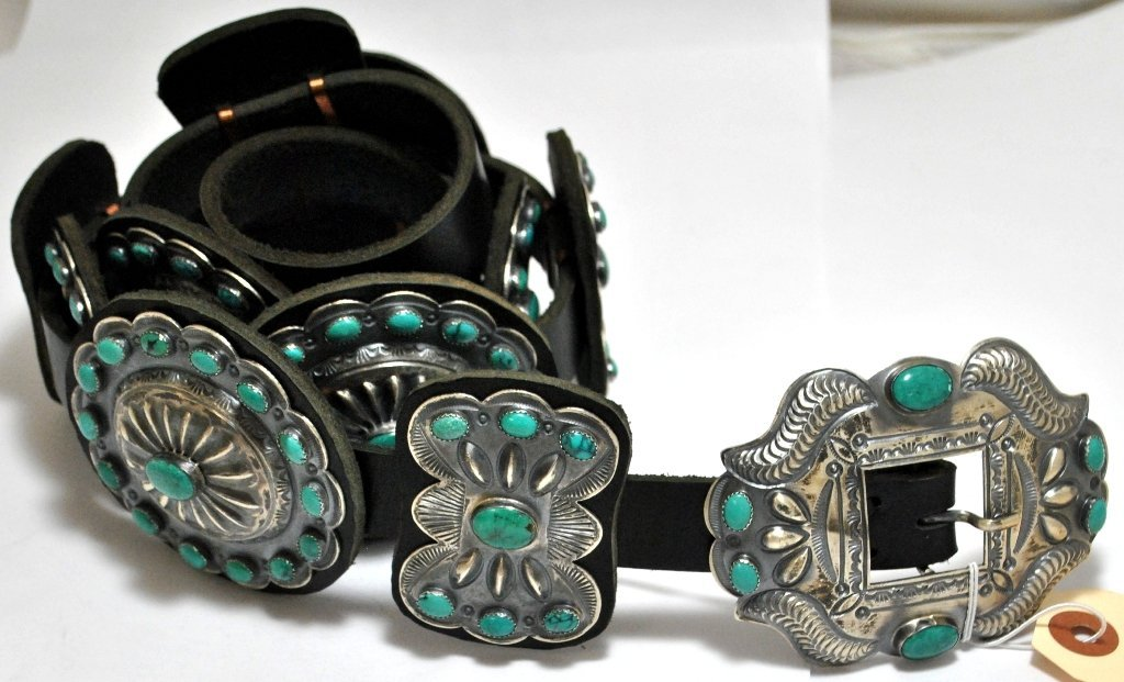 Old Pawn Green Turquoise Sterling Silver Concho Belt -