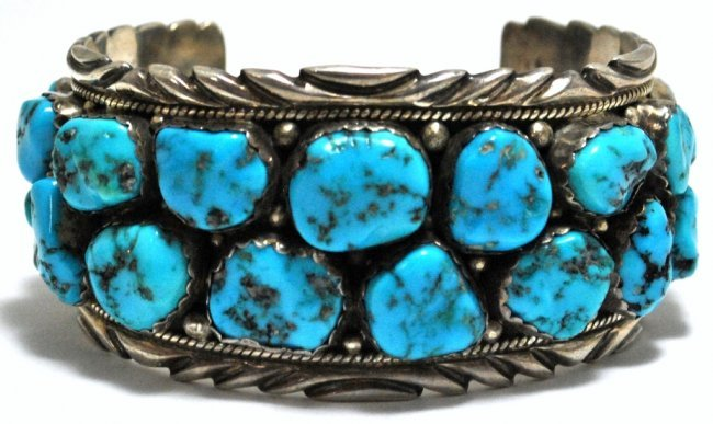 Old Pawn Sleeping Beauty Turquoise Cluster Sterling Sil