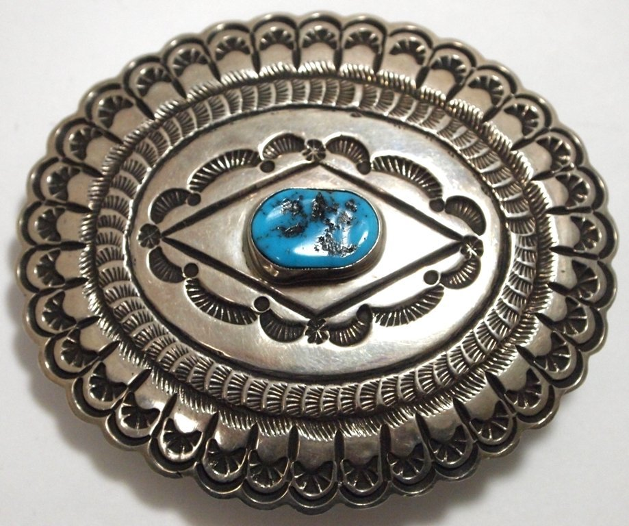 Old Pawn Navajo Turquoise Sterling Silver Buckle - LM