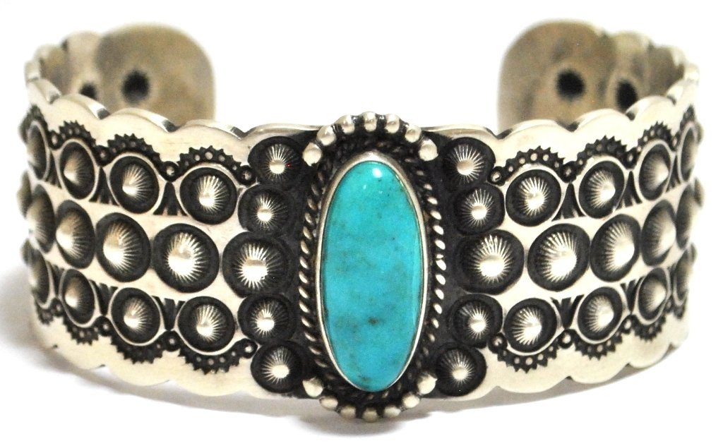 Old Pawn Navajo Candelaria Turquoise Sterling Silver Cu