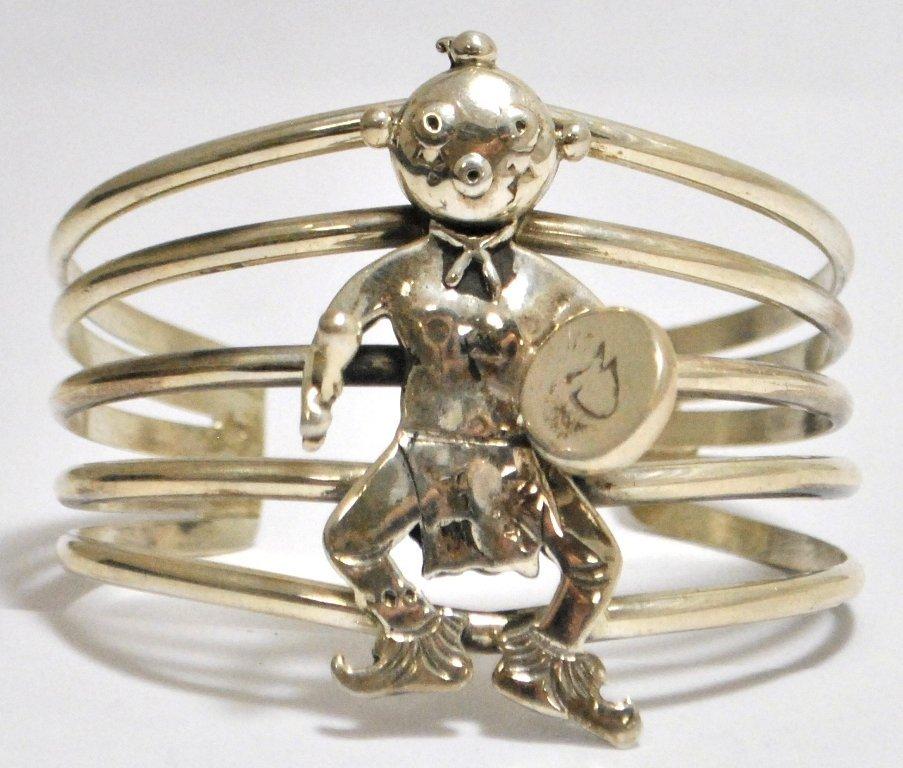 Old Pawn Mudhead Dancer Sterling Silver Cuff Bracelet -
