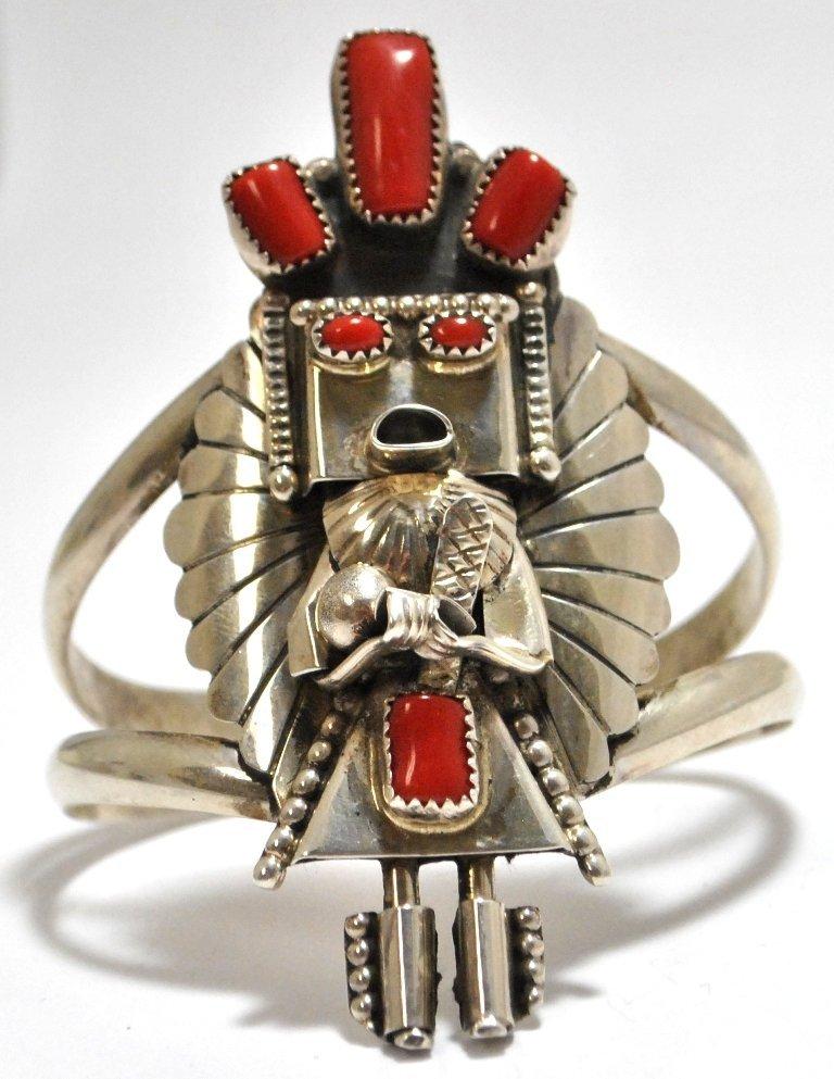 Old Pawn Navajo Coral Sterling Silver Kachina Cuff Brac