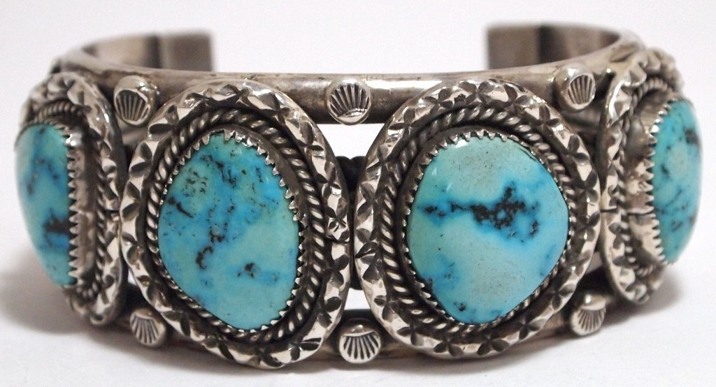 Old Pawn Navajo Dry Creek Turquoise Sterling Silver Cuf