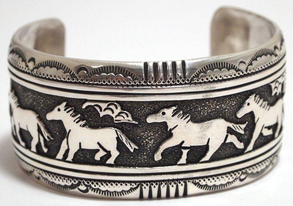 Navajo Sterling Silver Horses Cuff Bracelet - Tommy Sin