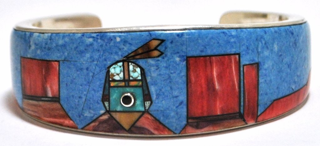 Old Pawn Navajo Multi-Stone Inlay Sterling Silver Cuff