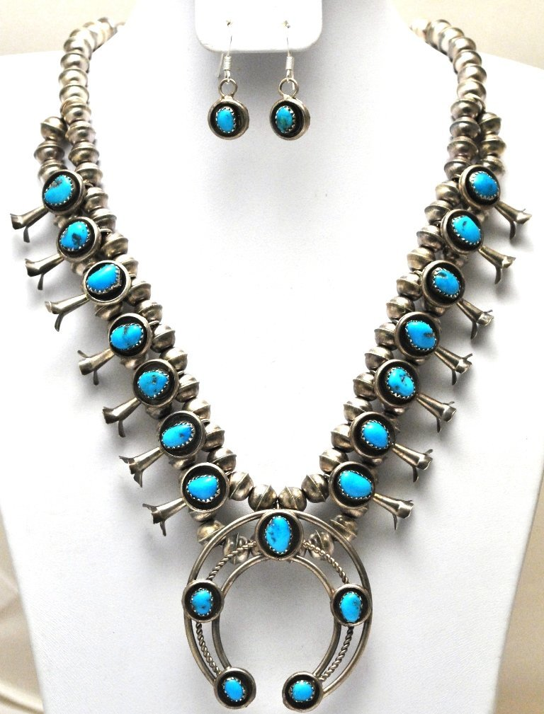 Old Pawn Navajo Turquoise Squash Blossom Necklace & Ear