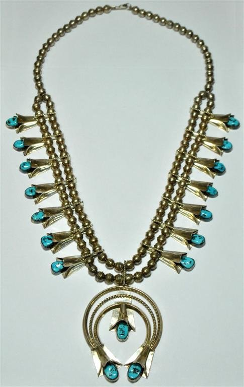 Old Pawn Sleeping Beauty Turquoise Squash Blossom Neckl