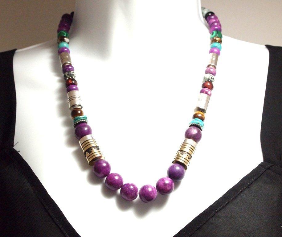Navajo Sugilite & Multi-Stone Necklace - Tommy Singer