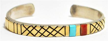 Old Pawn Navajo Turquoise  Coral 14k Gold over Sterlin