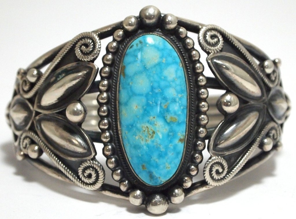Old Pawn Navajo Lone Mountain Turquoise Sterling Silver