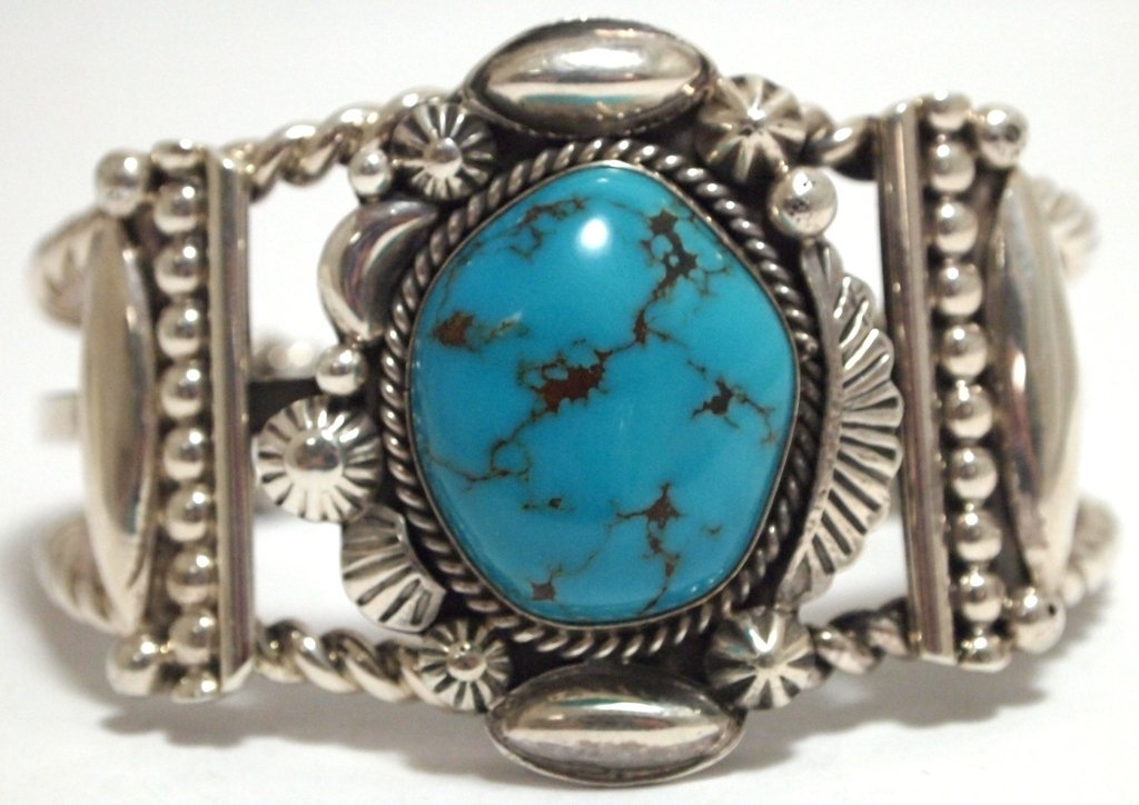 Old Pawn Navajo Spider Web Turquoise Sterling Silver Cu