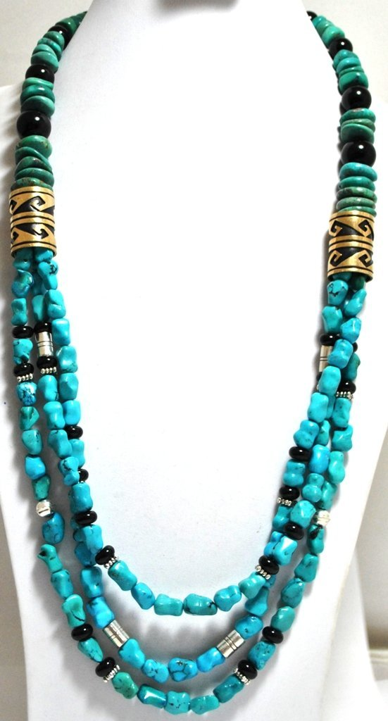 Navajo Turquoise & Onyx Necklace with 12k Gold Fill & S