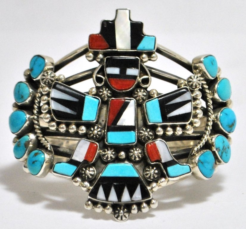 Old Pawn Multi-Stone Rainbow Dancer Kachina Sterling Si