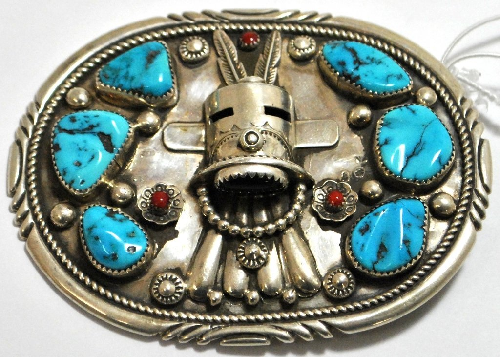 Old Pawn Coral & Turquoise Kachina Sterling Silver Buck