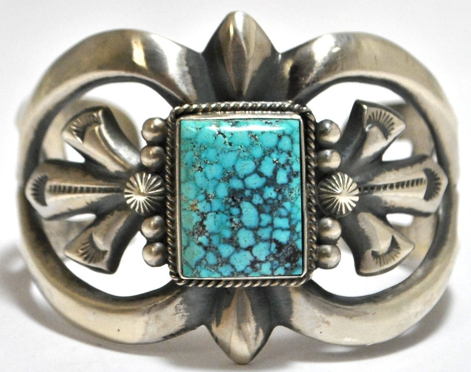 Old Pawn Navajo Spider Web #8 Turquoise Sterling Silver