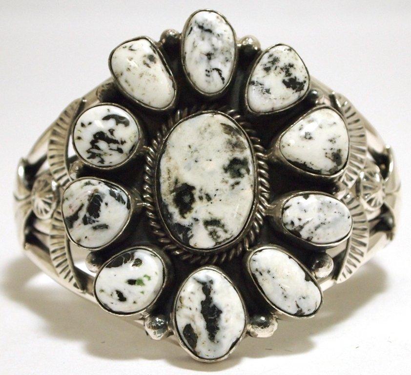 Navajo White Buffalo Sterling Silver Cuff Bracelet - Ma