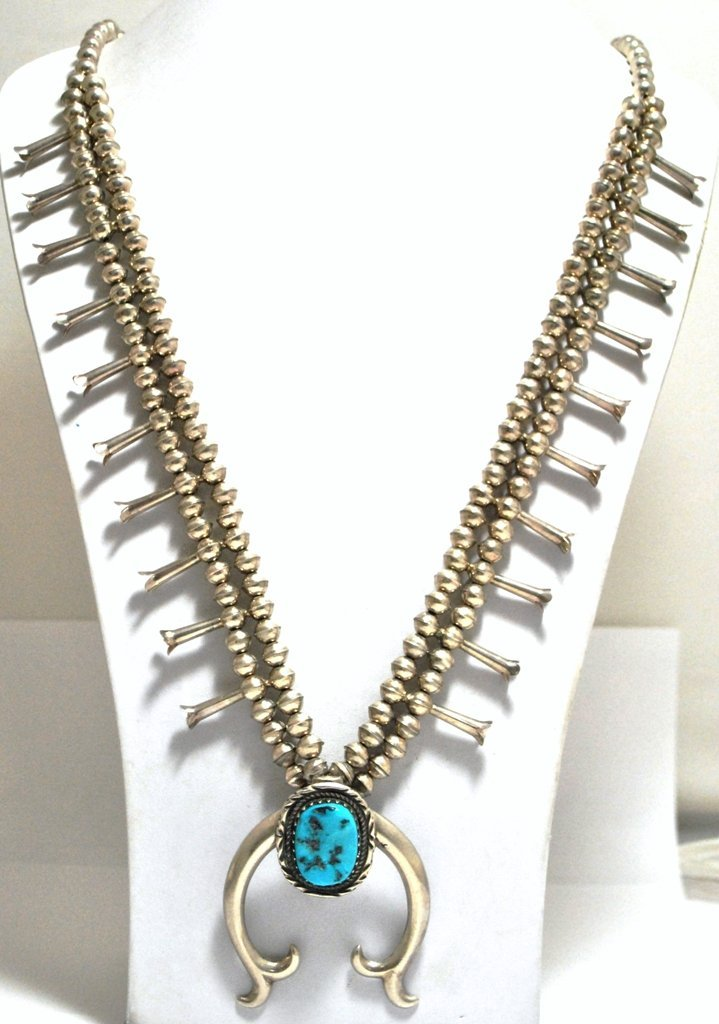 Old Pawn Turquoise Sterling Silver Squash Blossom Neckl